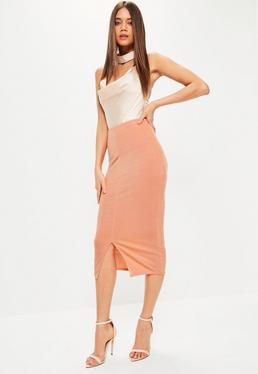Pink Split Front Longline Slinky Midi Skirt
