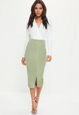 Green Split Front Longline Slinky Midi Skirt