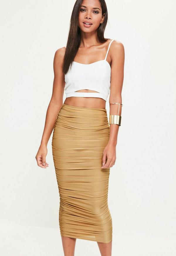 Gold Gathered Side Longline Midi Skirt
