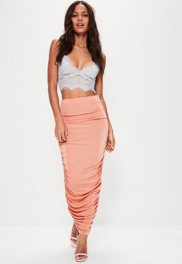 Pink Gathered Side Longline Midi Skirt
