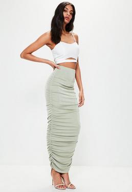 Green Gathered Side Longline Midi Skirt