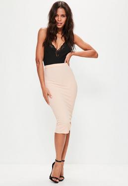 Pink Longline Ribbed Midi Skirt