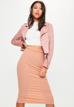 Pink Longline Ribbed Back Split Midi Skirt