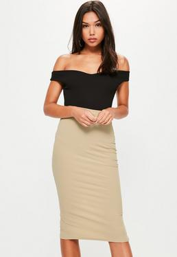 Gold Longline Ribbed Midi Skirt