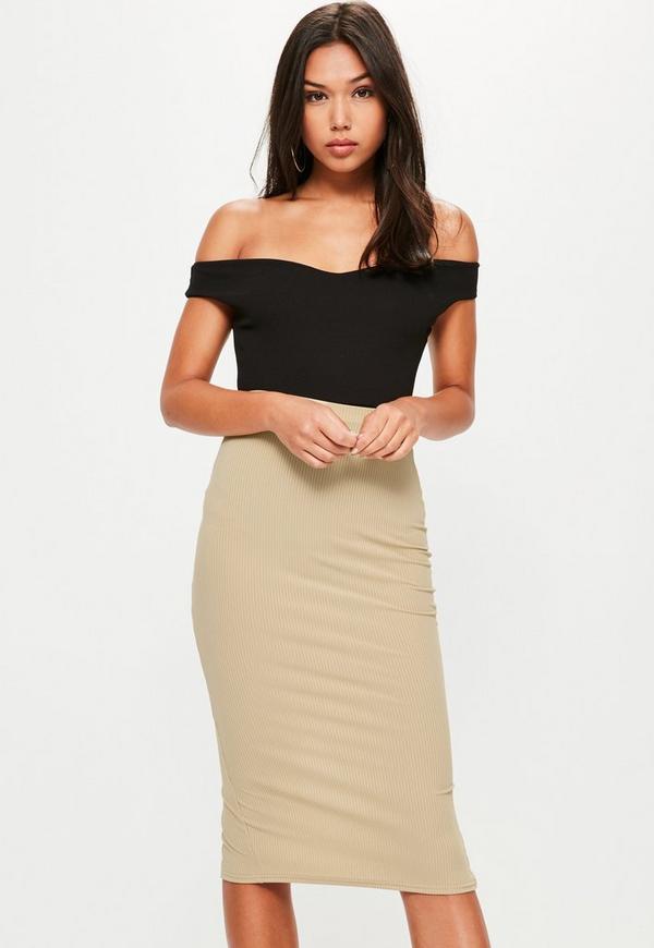 Gold Longline Ribbed Midi Skirt
