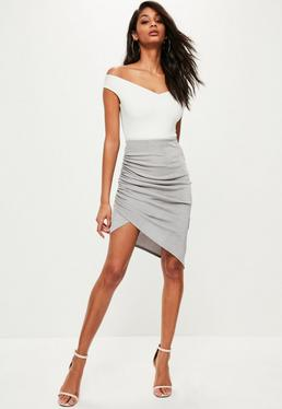 Grey Slinky Ruched Side Midi Skirt