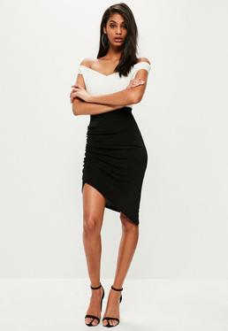 Black Slinky Ruched Side Midi Skirt
