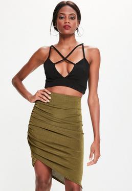 Khaki Asymmetric Ruched Side Slinky Midi Skirt
