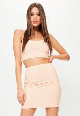 Nude Slinky Mini Skirt