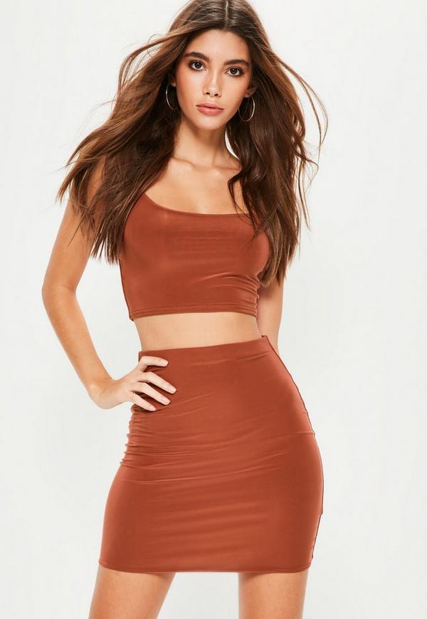 Orange Slinky Mini Skirt