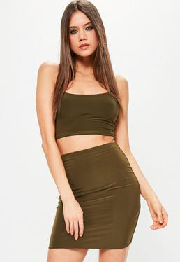 Khaki Slinky Mini Skirt