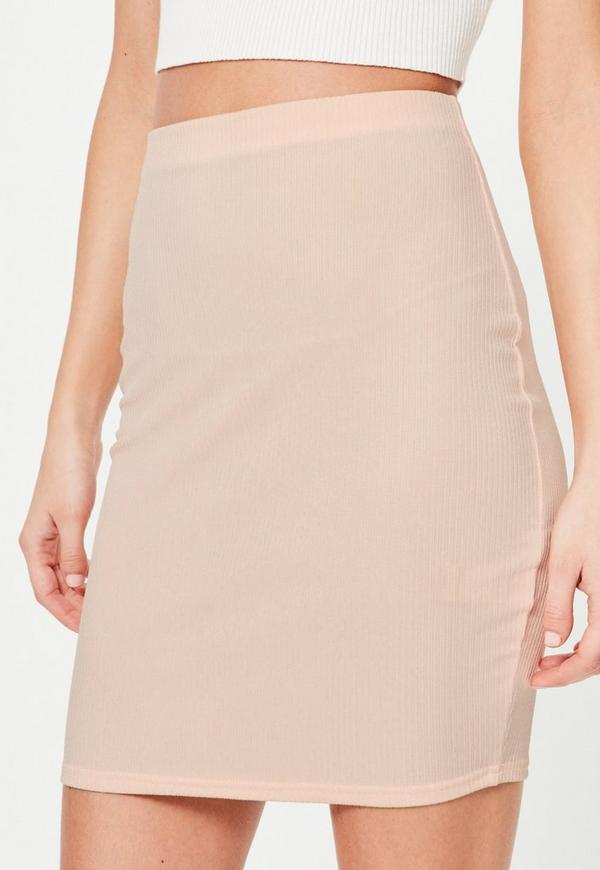 Nude Ribbed High Waisted Mini Skirt | Missguided