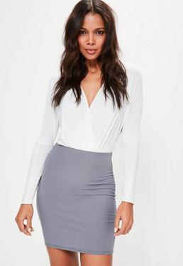 Blue Ribbed Mini Skirt