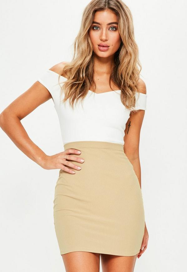Camel Ribbed Mini Skirt