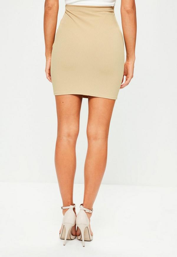 Camel Ribbed Mini Skirt | Missguided