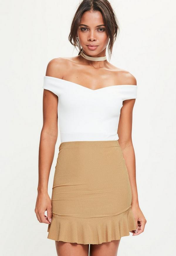 Gold Frill Hem Ribbed Mini Skirt