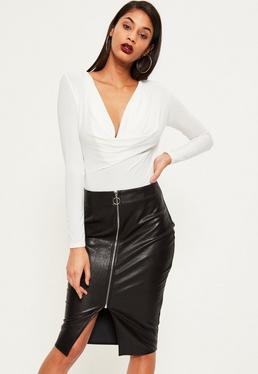 Black Zip Through Faux Leather Midi Skirt