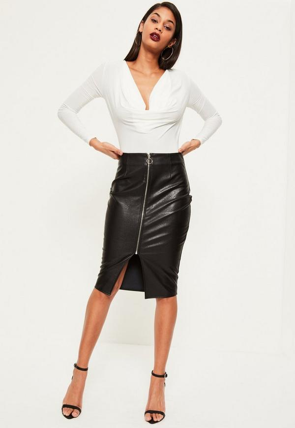 Black Zip Through Faux Leather Midi Skirt | Missguided