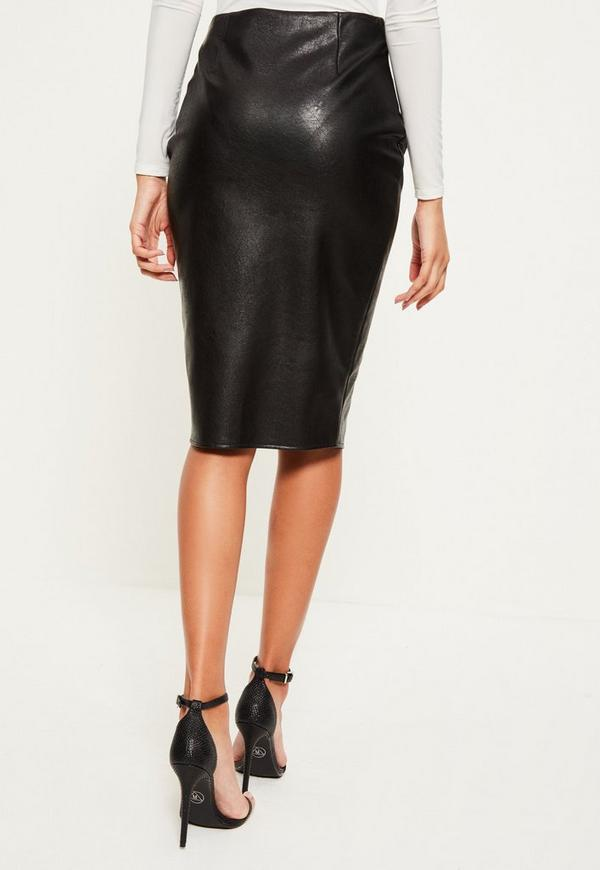 black zip through faux leather midi skirt missguided