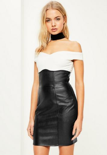 Black Faux Leather Super High Waisted Mini Skirt Missguided