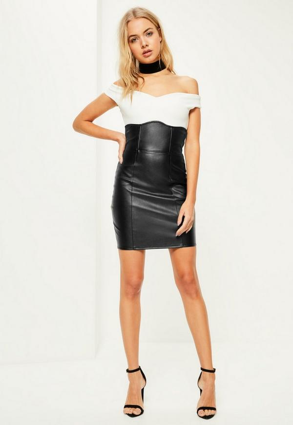 black faux leather high waisted mini skirt missguided
