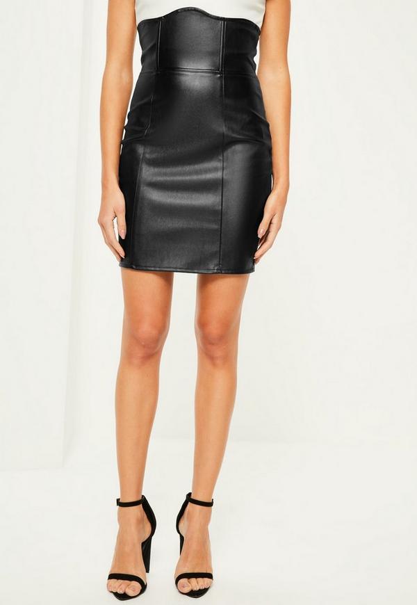 black faux leather high waisted mini skirt