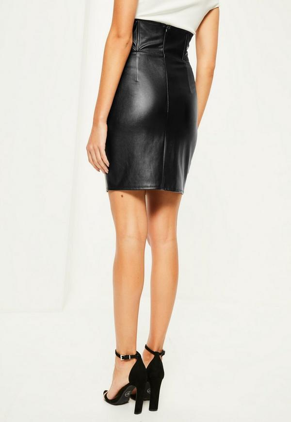 Black Faux Leather Super High Waisted Mini Skirt | Missguided