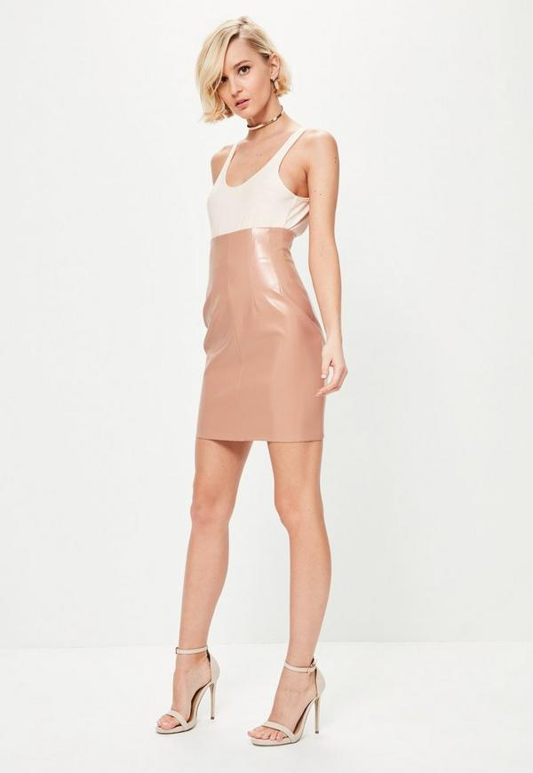Nude Super Highwaisted Faux Leather Mini Skirt | Missguided