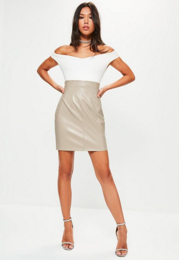 Grey Super Highwaisted Faux Leather Mini Skirt | Missguided