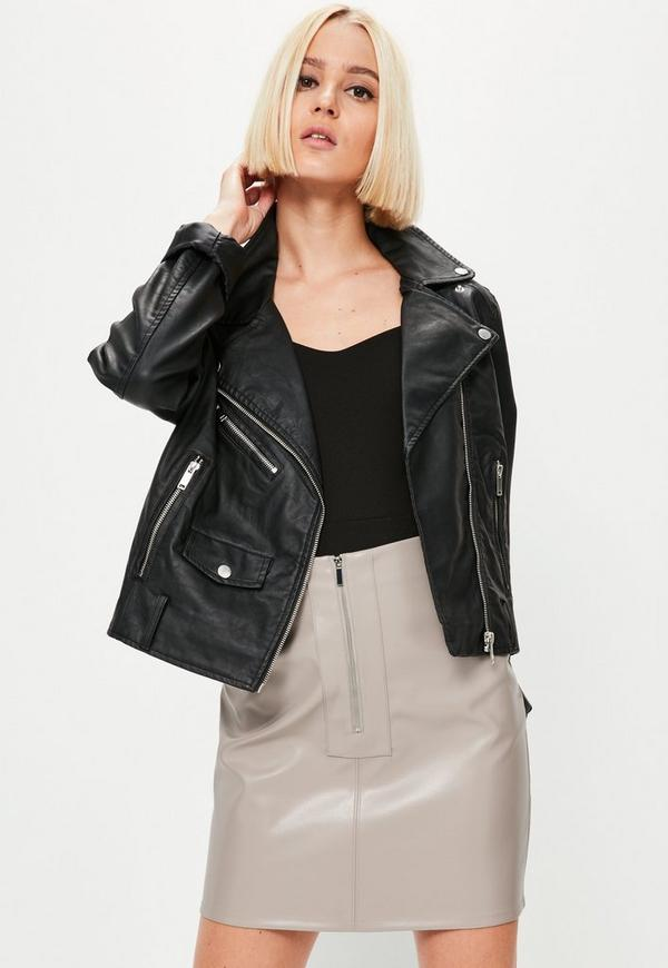 Grey Faux Leather Zip Front Mini Skirt