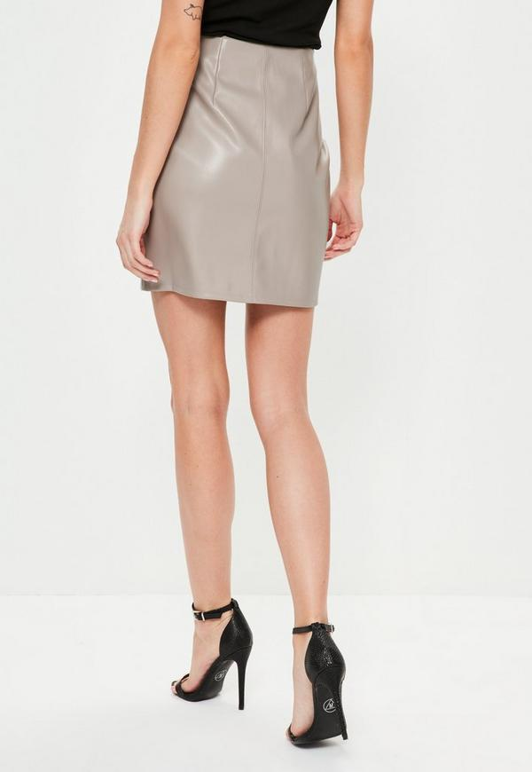 grey faux leather zip front mini skirt missguided