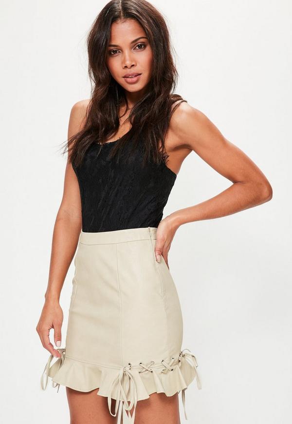 Cream Faux Leather Frill Mini Skirt