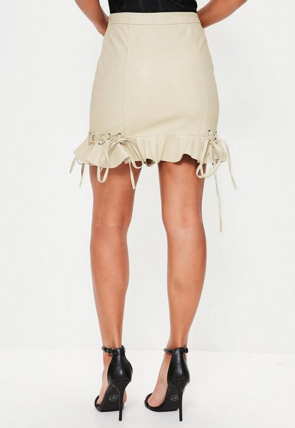 Cream Faux Leather Frill Mini Skirt | Missguided