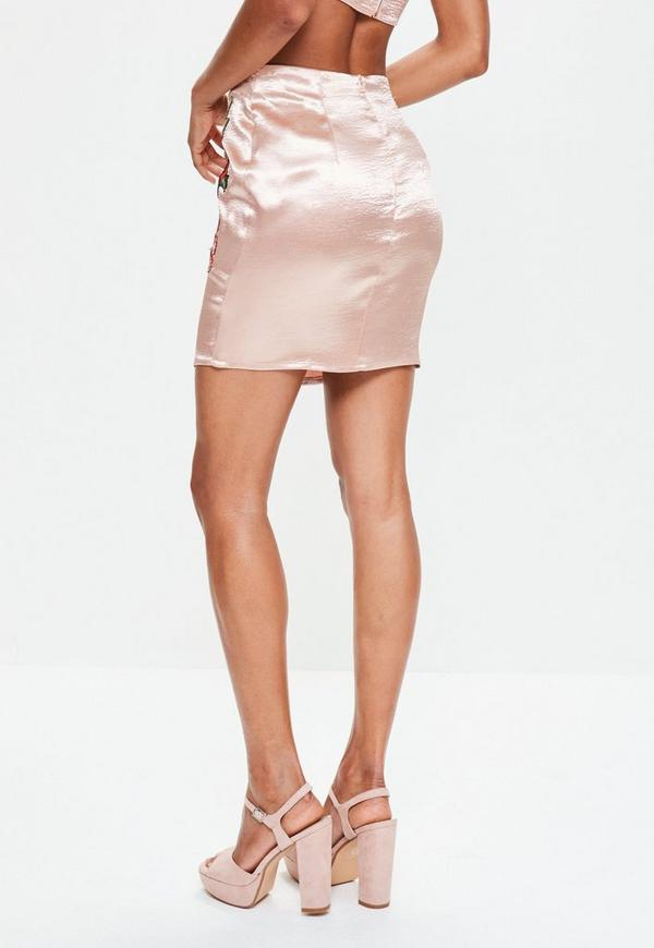 pink high shine satin embroidered mini skirt missguided