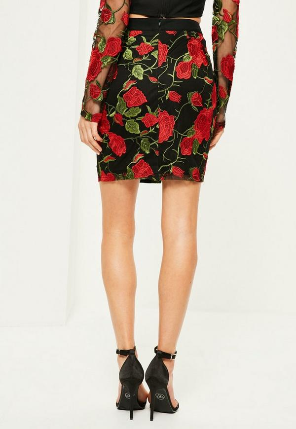 Black Floral Embroidered Mini Skirt - Missguided