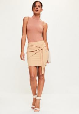 Nude Jersey Crepe Tie Front Mini Skirt