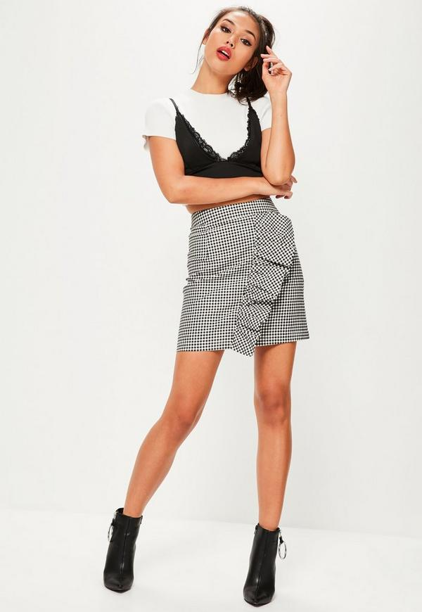 Black Gingham Frill Front A Line Mini Skirt | Missguided