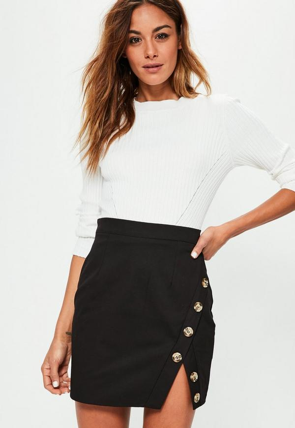 Black Cotton Asymmetric Button Detail Mini Skirt
