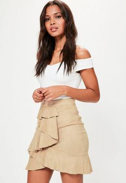 Tan Faux Suede Ruffle Front Mini Skirt