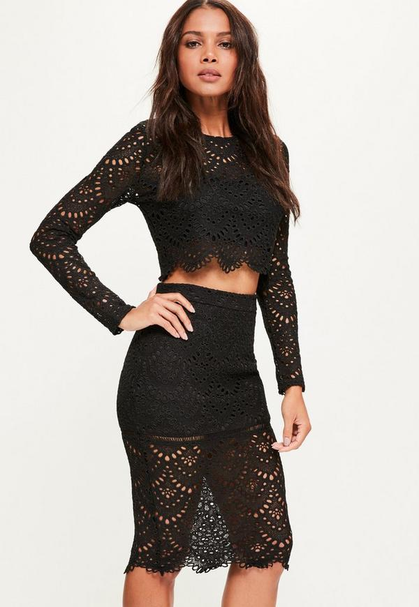 Black Crochet Lace Midi Skirt