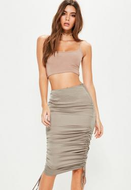 Grey Satin Ruched Side Midi Skirt