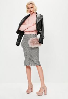 Grey Gingham Ruffle Front Midi Skirt