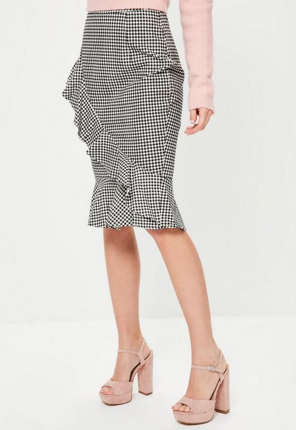 Grey Plaid Ruffle Front Midi Skirt | Missguided