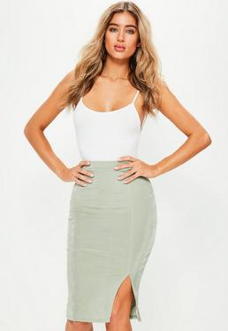 Green Slinky Side Split Midi Skirt