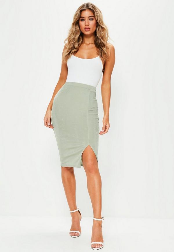 green slinky side split midi skirt missguided australia