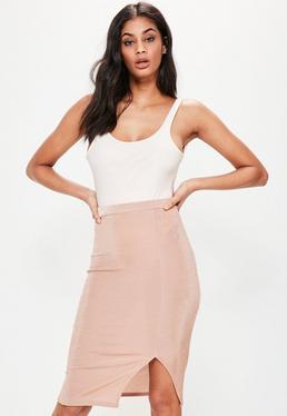 Pink Slinky Split Side Midi Skirt
