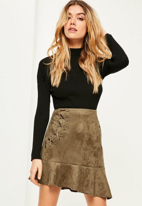 Khaki Faux Suede Frill Hem Eyelet Detail Mini Skirt