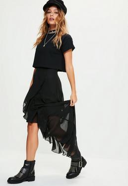 Falda maxi de gasa con volantes en negro
