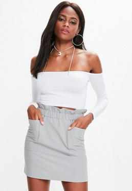 Grey Paperbag Waist Pocket Detail Mini Skirt