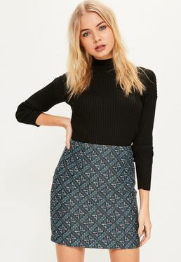 Blue Woven Patterned Mini Skirt